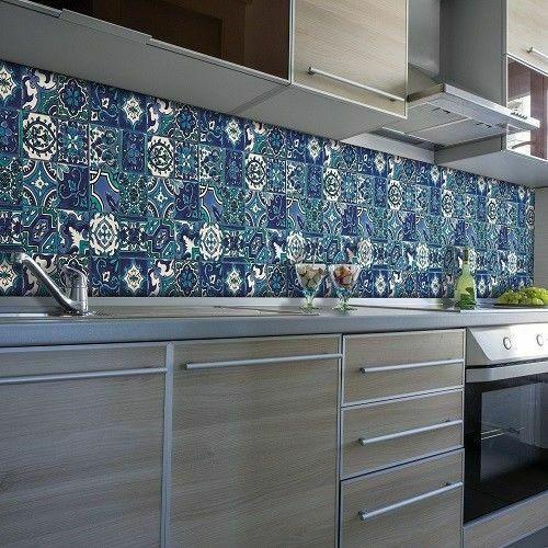 Waterproof Wallpaper Bathroom Kitchen Blue Moroccan Tile 4metersx67 5cm D Cwall 4007386335487 Ebay
